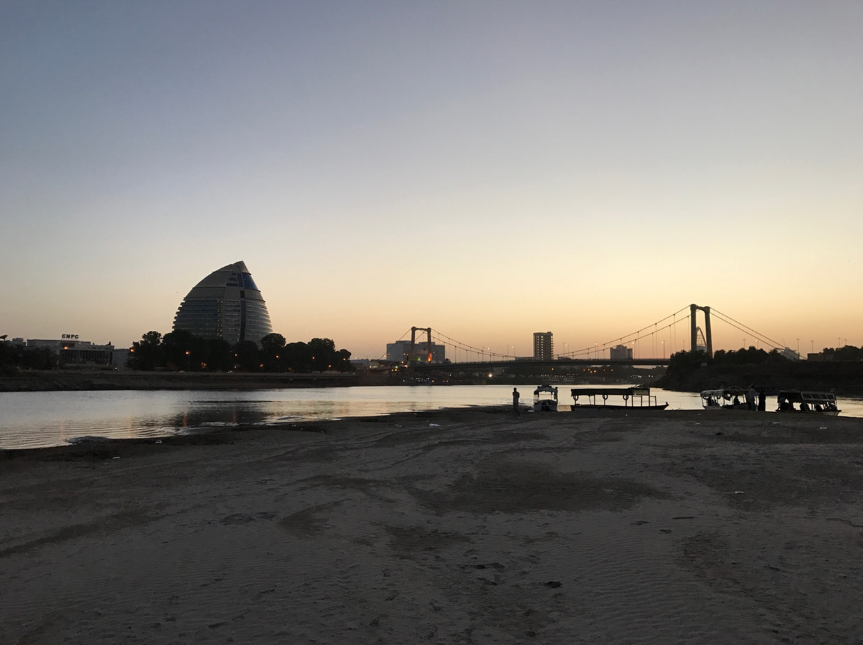 Sunset overlooking the beginning of the River Nile in Khartoum, Sudan